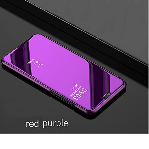 Leather Case with Stand for Huawei Honor 9 Lite,Bookstyle Flip Case Cover for Huawei Honor 9 Lite,Leecase Mirror Effect Transparent View Standing Function for Huawei Honor 9 Lite-Red Purple by Leecase