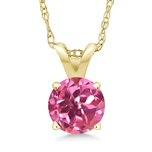 Gem Stone King 1.00 Ct Round Pink Mystic Topaz 14K Yellow Gold Pendant With Chain