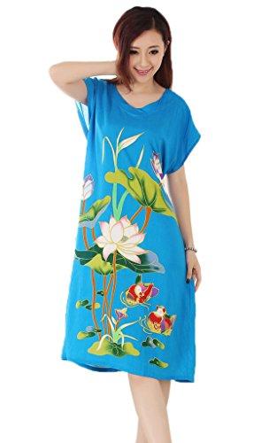 Smile YKK V-Ausschnitt Schlafkleid Nachtwäsche Damen Nachthemd Blau