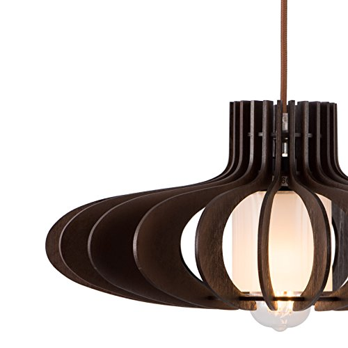 MAYKKE Oban Medium Wooden Pendant Lamp | Lantern Style with Dark Brown Rings, Hanging Light with Adjustable Cord | Walnut Wood Finish, MDB1040201 by Maykke (Image #4)