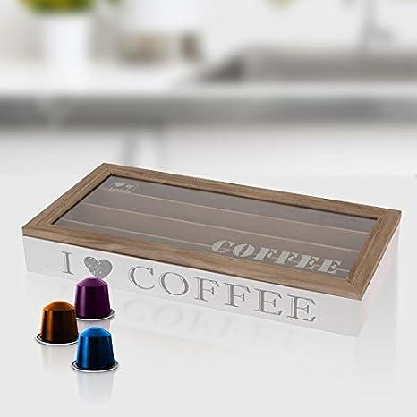 Boite De Rangement Pour 40 Capsules Cafe Nespresso En Bois Fenetre Transparente En Verre Amazon Fr Cuisine Maison
