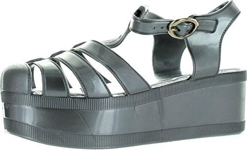 Nature Breeze Womens Disco-01 T-Strap Retro Platform Jelly Rain Sandals,Silver,10