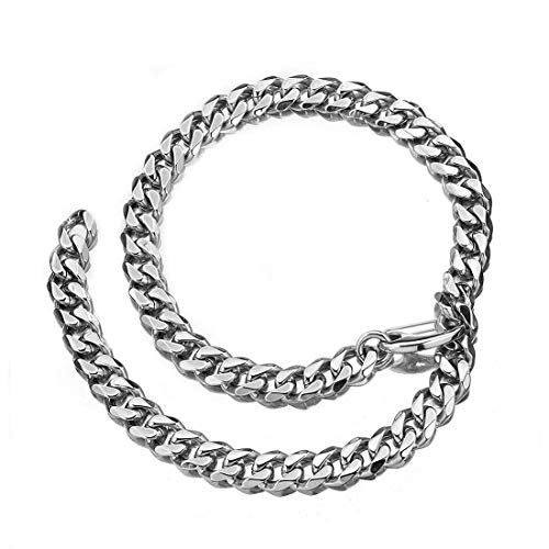 (Mens Silver Tone Stainless Steel Hip Hop Miami Chain Curb Cuban Link Rapper Necklace with Tail (20))