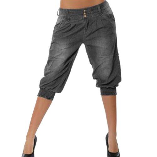 Fangcheng Jeans Taille lastique pour Femmes avec Poche 4 Couleurs Diffrentes (Asiatique S-5XL) Gris