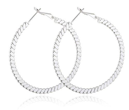 YUSHENG Brilliant Round Big Real Gold Filled Womens Hoop Wedding Earrings
