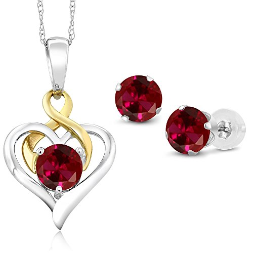 Gem Stone King 10K 2 Tone Gold 2.60 Ct Round Red Created Ruby Pendant Earrings Set