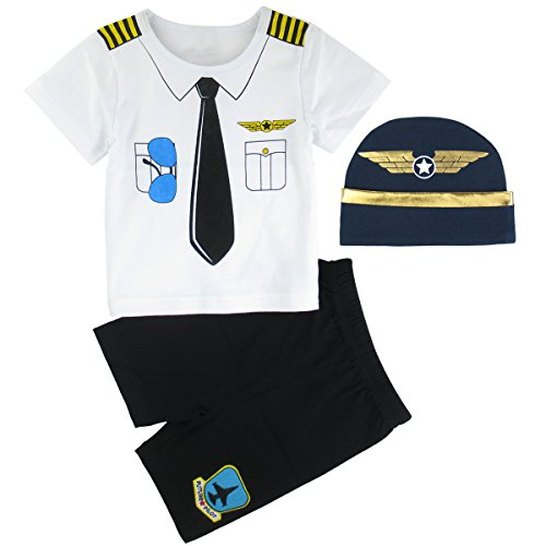 Pilot Piece 12 - Mombebe Baby Boys' 3 Pieces Pilot Short Clothing Set with Hat (6-12 Months, Pilot)