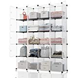 KOUSI Portable Storage Cube - 14x14 Cube (20 Cubes) Cube Organizer Cube Storage Shelves Cube Shelf Room Organizer Clothes Storage Cubby Shelving Bookshelf Toy Organizer Cabinet, Transparent White