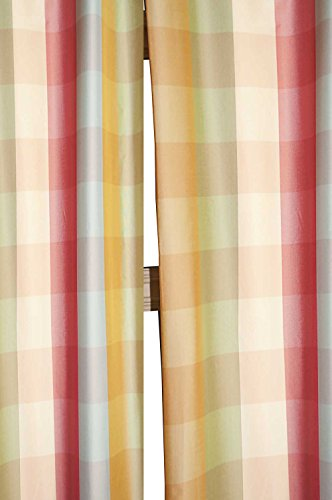 Beckford 3″ checkered faux silk taffeta lined rod pocketed window treatment curtain panel (5 tone checks (blue & gold), 52″W X 120″L) Review