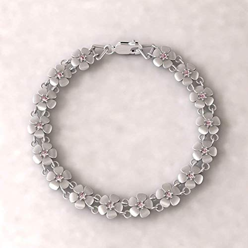 Sterling Silver Daisy Birthstone Bracelet - Flower Bracelet with Birthstones of Your Choice - LS4571