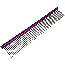 My Pet Comb | Comfortable Grooming Comb with Different-Spaced Rounded Hypoallergenic Stainless Steel Teeth | Easy for Brush, Grip, and Convenient Grooming for Pets with Medium / Coarse Fur | 850.2