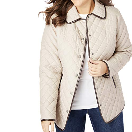 Woman Within Women's Plus Size Quilted Snap-Front Jacket - Soft Sand, 22 W