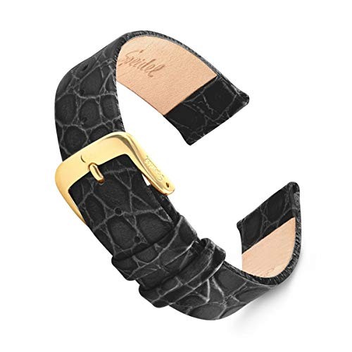 Speidel 20mm Genuine Leather Crocodile Grain Watch Band, Black with Gold-Tone Stainless Steel Buckle ()