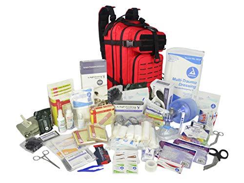 Lightning X Stocked EMS/EMT Trauma & Bleeding First Aid Responder Medical Backpack + Kit (Red)