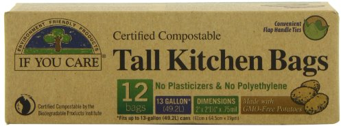 IF YOU CARE Certified Compostable Tall Kitchen Bags, 12 (Compostable Plastic Grocery Bags)