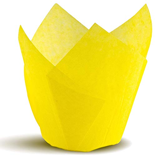 Tulip Cupcake Liners, Natural Baking Cups for Standard Size Cupcakes and Muffins Liners (300, Yellow)