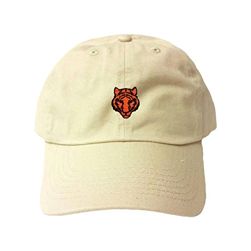 Adjustable Khaki Adult Tiger Embroidered Dad Hat