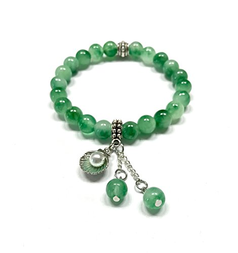 Jewelry Jade Bracelet - Natural Green Jade Stone and Cute Sea Shell Charm Bracelet. Stretch. Heart Chakra. Dream Stone.