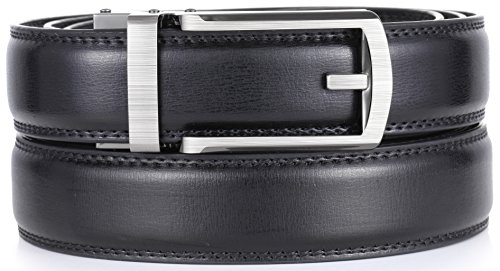 "Marino Men's Genuine Leather Ratchet Dress Belt with Open Linxx Buckle, Enclosed in an Elegant Gift Box - Silver Open Buckle with Black Leather - Custom: Up to 44"" Waist"