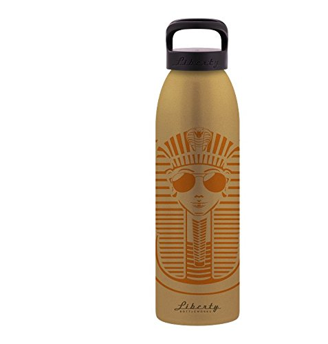 Liberty Bottleworks RA-ger That Aluminum Water Bottle, Made in USA, 24oz, Gold, Standard Cap