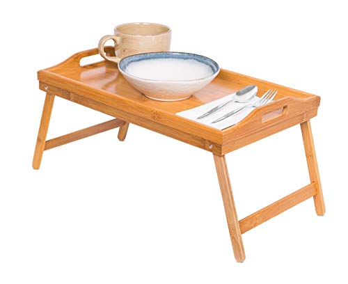 BIRDROCK HOME Lap Desk Bed Tray | Bamboo Table | Handles | Foldable Breakfast Serving Tray | Pull Down Legs | Portable Laptop Stand | Natural ()
