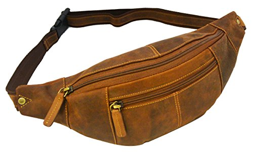 Visconti 721 Genuine Soft Leather Bumbag Fanny Pack Waist Pouch (Oil Tan) ()