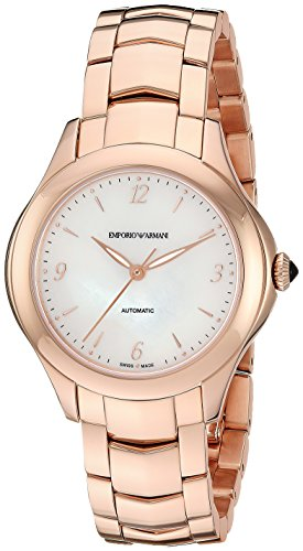 Emporio Armani Swiss Made Women's Esedra Lady Auto Watch Swiss-Automatic Stainless-Steel Strap, Rose Gold, 14 (Model: ARS8552)