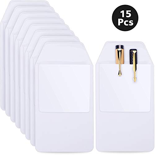 Zonon 15 Pieces PVC Pocket Protectors White Shirt Pocket Protectors for School Hospital Office Supplies ()