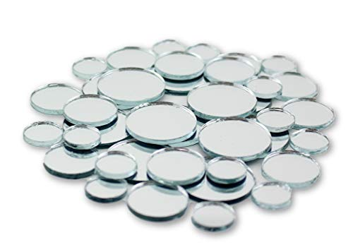 Small Mini Round Craft Mirrors Bulk Assortment 1/2, 3/4 & 1 inch 100 Pieces Mirror Mosaic Tiles -