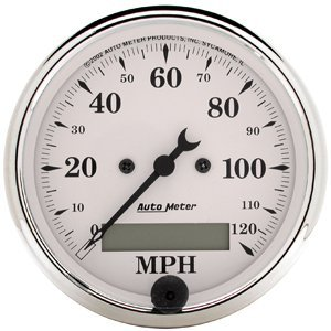 Auto Meter Old Tyme White Series Speedometers Speedometer, Old Tyme White Series, 0-120 mph, 3 1/ 8 in., Analog, Electrical, Each