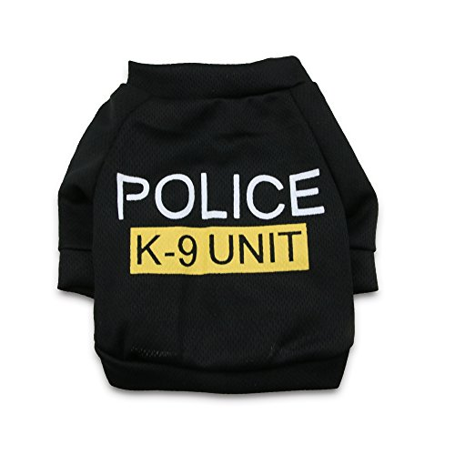 DroolingDog Pet Dog Clothes POLICE K-9 UNIT Canine Tee Shirt Costume for Small Dogs, XS, Black