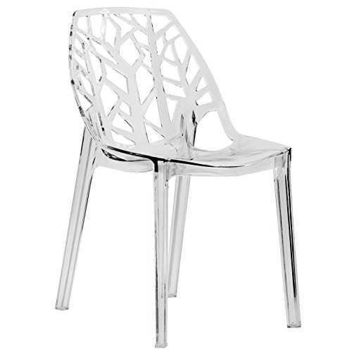 LeisureMod Modern Cornelia Dining Chair, Clear