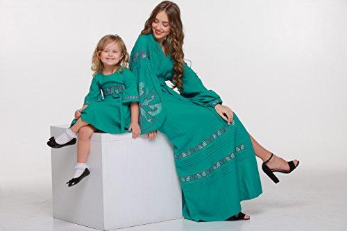 de Largo a verde Lino estilo de Vestido Girl boho os y En Vyshyvanka Baby vestir azul 7 Ropa w6aWpqSv
