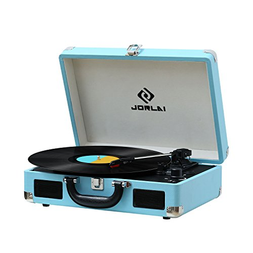 JORLAI Rechargeable 3-Speed Vinyl Record Player Bluetooth Turntable with Built-in Stereo Speakers,Support Vinyl-to-MP3 Recording / Headphone Jack / Aux Input /RCA Output,Turquoise