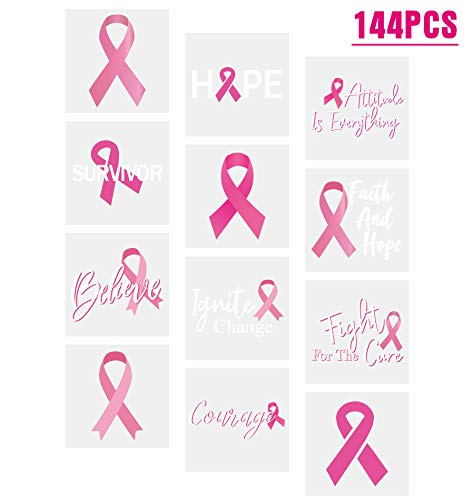 3omething New Breast Cancer Awareness Pink Ribbon Tattoos - Walk/Football Team/Run/Fundraising Favors 144Ct