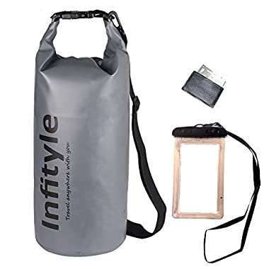 Waterproof Dry Bags - Floating Compression Stuff Sacks Gear Backpacks for Kayaking Camping - Bundled with Phone Case and Pocket Tool (Gray,10L)