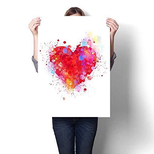 Print Calendar Heart - Anshesix Canvas Wall Art for Bedroom Home Decorations Splattered Heart for Home Decoration No Frame 20