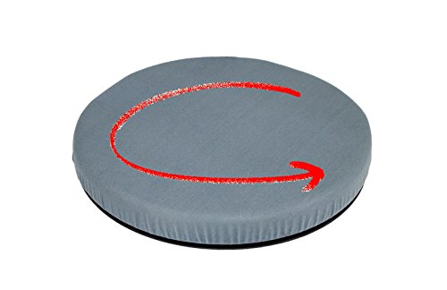 """Removable Seat Swivel (ObboMed SS-2750G 360° Rotation Portable Swivel Seat Cushion with Non-Skid Plastic ABS Base and Washable Velour Cover, Easy Movement for Back, Hip, Tailbone Pain Suffers, 15"""" x 2""""(Gray))"""