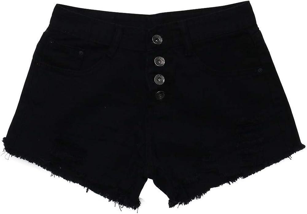 VEZAD Women High Waist Buckled Hole Denim Shorts was Thin Wild Edging Hot Pants