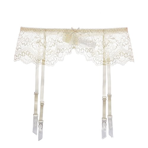 White Garter Belt (Varsbaby Women Sexy Lace Suspender Garter Belt For Thigh High Stockings (N022DW, S, Cream white))