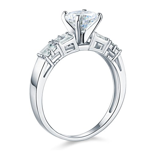 14k White Gold SOLID Engagement Ring and Wedding Band 2 Piece Set