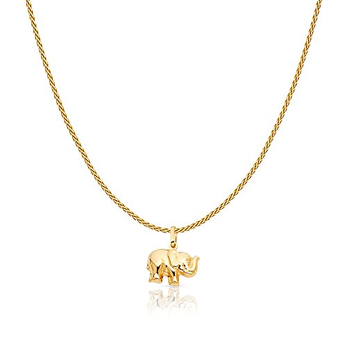 14K Yellow Solid Gold Elephant Strength & Luck Charm Pendant with 0.9mm Wheat Chain Necklace - 24