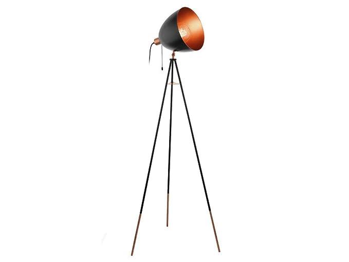 EGLO Chester iluminación de suelo Negro, Cobre E27 - Iluminación de suelo (Dormitorio, Salón, Negro, Cobre, Acero, IP20, II, ENEC)