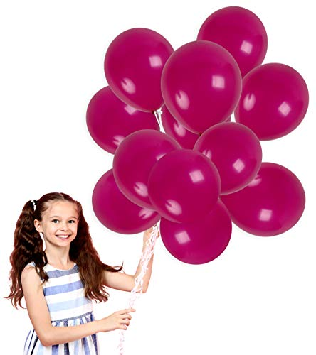 Treasures Gifted Dark Magenta Plum Solid Balloons Bouquet in 12 Inch Thick Latex for Birthday Bachelorette Wedding Graduation Party Decorations (100 Pack)