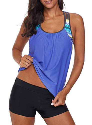 (Women's Blouson Striped T-Back Push Up Tankini Top Halter Padded Slimming Swimsuit Sporty Swimwear Plus Size XXL 18 20 Blue)