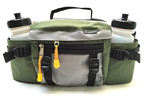 Unique Imports Premium Fanny Waist Lumbar Pack with Water Bottle Holder Hiking Climbing Walking Outdoors by Everest, Includes 2 Everest Squeeze Bottles (Green)