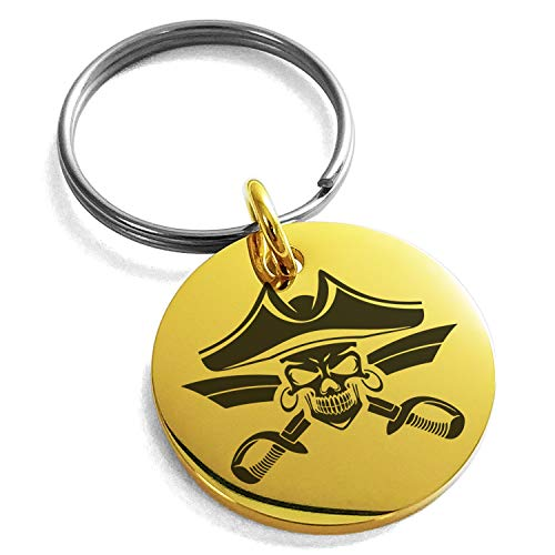 - Tioneer Gold Plated Stainless Steel Jolly Roger Skull Pirates Cross Swords Engraved Small Medallion Circle Charm Keychain Keyring