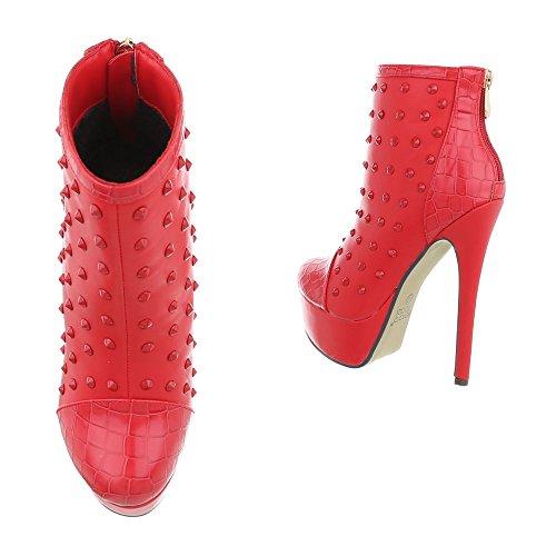 Boots Kurze Damen Stiefelette Stiefeletten Schuhe Plateau Kurzschaft Leder Booties Rot Heels Optik High wZvqXZx1f