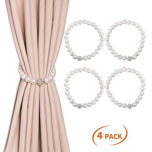 Magnetic Pearl - Dofulay Magnetic Curtain Tiebacks,4 Pack Pearl Style Window Drape Twist Tie Backs Decorative Weave Rope Drapery Holdbacks for Big,Wide or Thick Curtain (16
