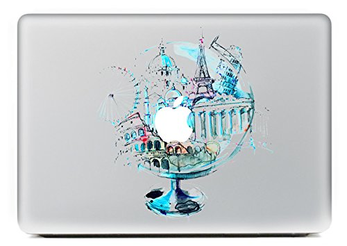 H4S Removable Decorative PVC Macbook Decals Skin Stickers Mac Cover Decal for Apple Macbook Pro Air Retina13 Inch (Globe Laptop Sticker)